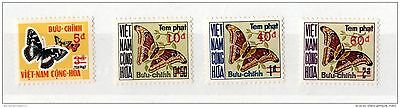Vietnam 1974 Butterflies Postage Due Set of 4 Mint X2593