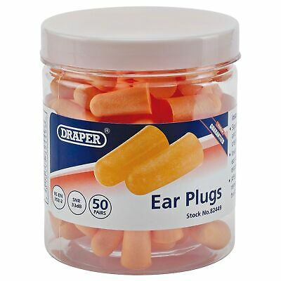 Draper 50 Pairs of Workshop/Garage Foam Ear Plugs In Plastic Jar - 82449