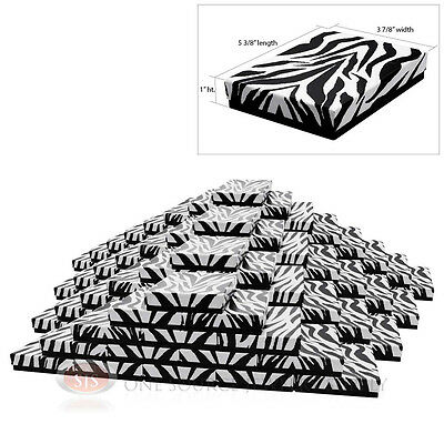 """Large 100 Zebra Print Cotton Filled Jewelry Gift Boxes 5 3/8"""" x 3 7/8"""" x 1""""H"""