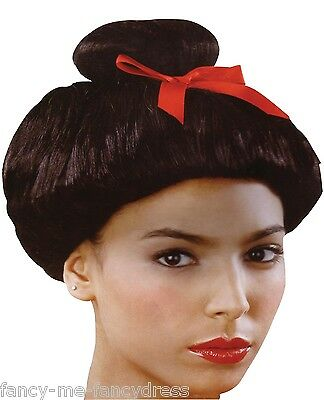 Ladies Black Japanese Chinese Oriental Red Bow Fancy Dress Costume Outfit Wig