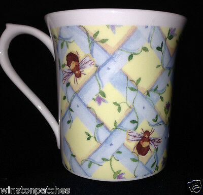 Queen's Bone China England Bees Mug Cup 8 Oz Flowers Quilted Blue Yellow
