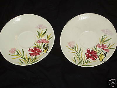 Red Wing Pottery 2 Pink Spice Saucers Butterfly Flowers