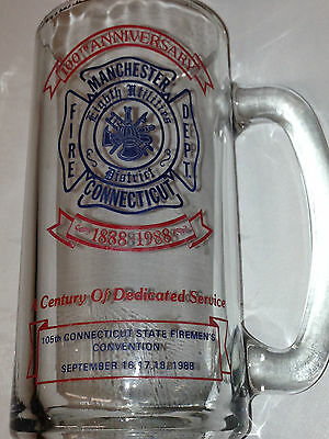 Manchester Ct Connecticut Fire Dept 1988 Glass Mug 100Th Anniversary Convention