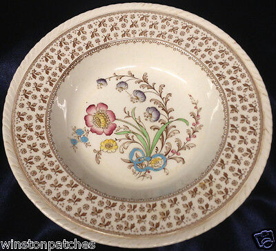 """Crown Ducal Knutsford 9"""" Bowl Brown & Multicolored Flowers"""
