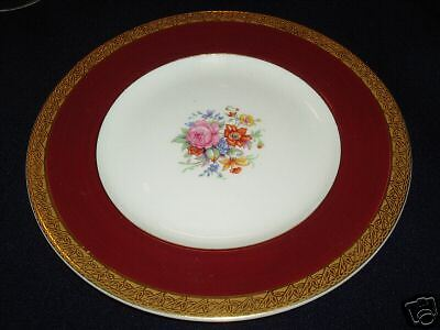 Crown Ducal Gold Encrusted Salad Plate 4937 Maroon Band