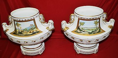 Pair Of Large Elegant Porcelain  And Gilt Chelsea  House Two Handled Urns