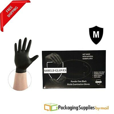 """PSBM"" Black Nitrile Medical Exam Gloves Powder-Free 4 Mil Size: Medium 500 pcs"