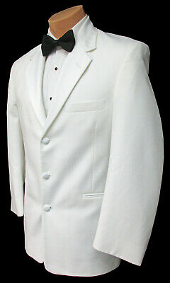White Perry Ellis Tuxedo Dinner Jacket Satin Lapel Wedding Prom Cruise Mason