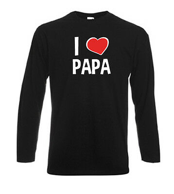 T-shirt noir homme manches longues fruit of the loom I LOVE PAPA
