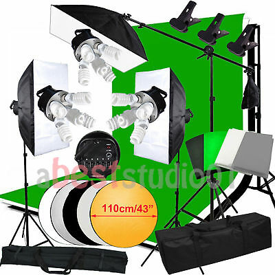 3375W Photo Studio Backdrop Softbox Continuous Lighting kit Boom arm Light Stand