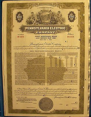 Vintage bond Pennsylvania Electric Company, 1961  for $1000