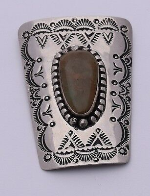 A.C. Bolo Tie Nickel Silver Green Turquoise Native American Navajo Hand Stamped