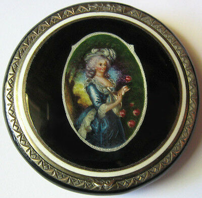 Pretty Vintage F & B Sterling Silver Black Enamel Fine Lady With Roses Compact