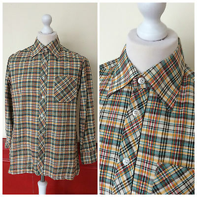 TRUE VINTAGE SHIRT DAGGER COLLAR GREEN CHECK 60s 70s RETRO DISCO (S123) SIZE M