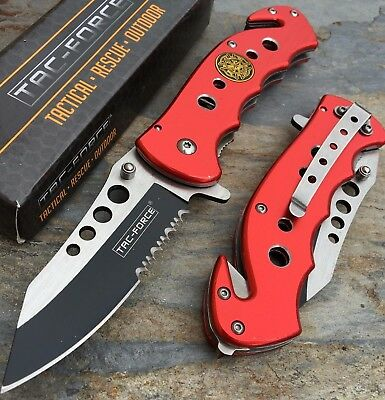 Tac Force Spring Assisted Open Red Fire Department Tactical Rescue Pocket Knife