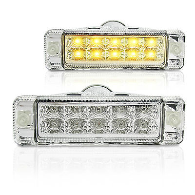 NEW, PAIR of Clear LED ARB Bullbar Indicators, Lights, Signals, lamps 135x38mm