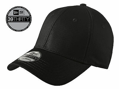 New Era 39Thirty Blank Stretch Cotton fitted Black Hat/Cap NE1000 -Free Shipping
