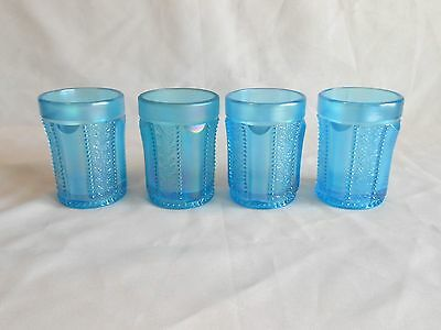 Lot of 4 St.Clair Carnival Glass Ice Blue Tumblers Holly Band