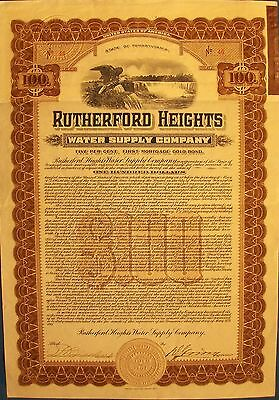 Vintage bond Rutherford Heights Water Supply Company, 1911  $100