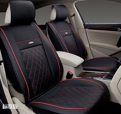 Black&Red Universal PU Leather Car Seat Covers Front Rear Cover Accessory Set