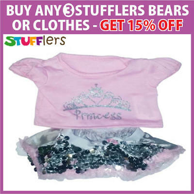Pink Shirt & Skirt Clothing Outfit by Stufflers – Fits Medium Sized 40cm Bear
