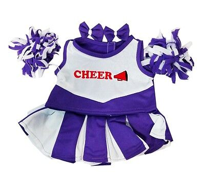 Purple Cheerleader Clothing Outfit by Stufflers – Will fit on a Build a bear