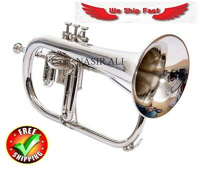 3 VALVE Bb KEYS FLUGEL HORN BRANDED + NICKEL PLATED ALL NEW WITH CASE + MOUTH PC