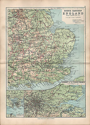 1895 Victorian Map ~ England South East ~ London & Lower Thames Portsmouth