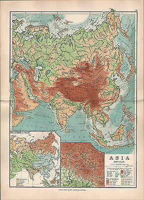 1895 Victorian Map ~ Asia Physical Religions Kashmir Himalaya Land Heights