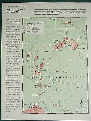 WW2 WWII MAP ~ AIRBORNE DROP ZONES SEPT 1944 ~ ADVANCES & ATTACKS US 82nd