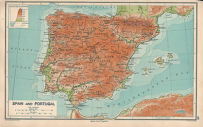 1931 Map ~ Spain & Portugal Physical ~ Castile Andalusia Granada Lisbon Madrid
