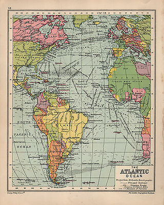 1934 Map ~ Atlantic Ocean With Shippping Routes Ocean Currents ~ South America