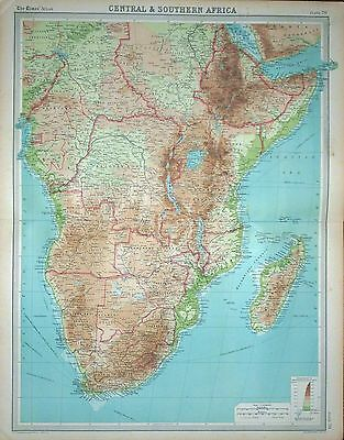 """1920 LARGE MAP ~ CENTRAL & SOUTHERN AFRICA ~ WITH MADAGASCAR ~ 23"""" x 18"""""""