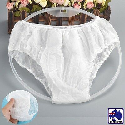 24pcs Unisex White Disposable Non-Woven Briefs Panties Underwear SGPA 12100x24