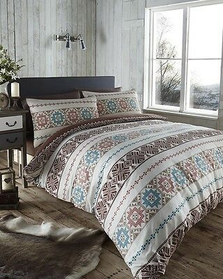 Scandi Natural Brown Reversible Duvet Quilt Cover Bedding Pillow Cases Linen Set