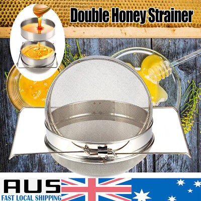 New Honey Tea Leaf Filter Strainer Double Layer Stainless Steel Beekeeping Tools