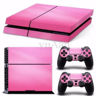 For Playstation 4 PS4 Pink Sticker Cover Console Decal Set + 2 Controller Skin