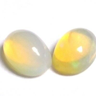 NATURAL IRIDESCENT FULL FIRE OPAL LOOSE GEMSTONES (2 pieces) OVAL CABOCHON