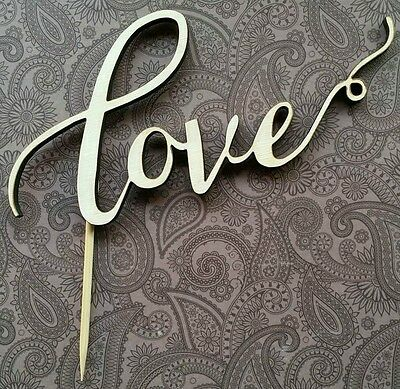 'Love' cake topper hand made wedding engagement anniversary WHITE/CREAMY COLOUR