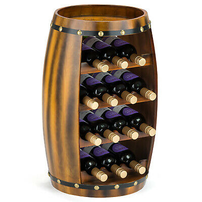 Wooden Barrel Wine Rack Wood Bottle Holder Table Top 14 Bottles Christow H64.5cm