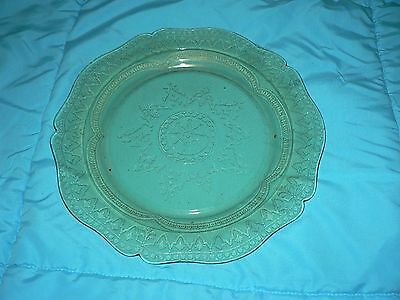 Vintage Amber Glass Large Plate Yellow Beautifully Etched Pattern Art Deco