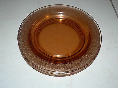 Vintage Amber Glass Plate Lot of 5 Beautifully Etched Pattern Art Deco