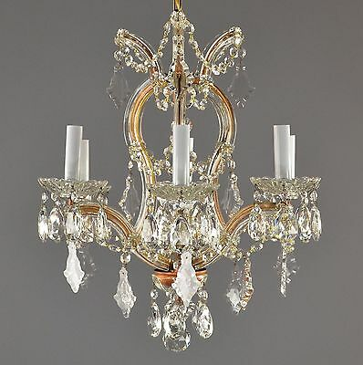 Marie Therese Crystal & Brass Chandelier c1950 Antique Vintage Glass Light