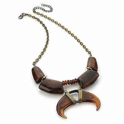 Ethnic Tribal Style Tooth Shape Bead Necklace Antique Vintage Look Gold Chain