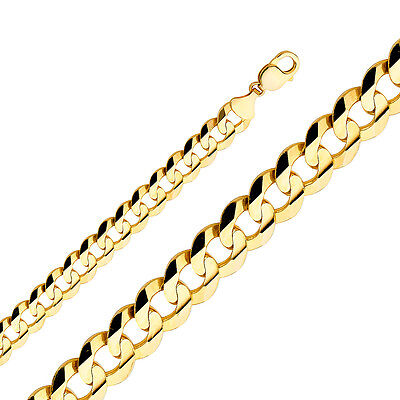 """2.2Mm- 14Mm 14K Solid Yellow Gold Cuban Link Women/ Men's Necklace Chain 8""""-30"""""""