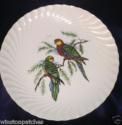 "Burleigh Burgess Leigh Birds On Branch Salad Plate 7 3/4"" Swirl Western Rosella"