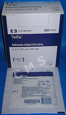 "COVIDIEN KENDALL TELFA Adhesive Island Dressing Pads Sterile 4""x4"" 25 Non-Stick"
