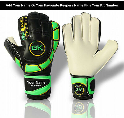 GK Saver Goalkeeper Gloves Finger Save Football Goalie Flat Cut Gloves Size 4-11