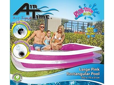 XLarge Pool Rectangle INFLATABLE transparent  grey or pink 262c x 175c x 51cm
