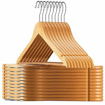20XWooden Coat Hangers Walnut Wood Wardrobe Pant Suit Rack Coathangers Organizer